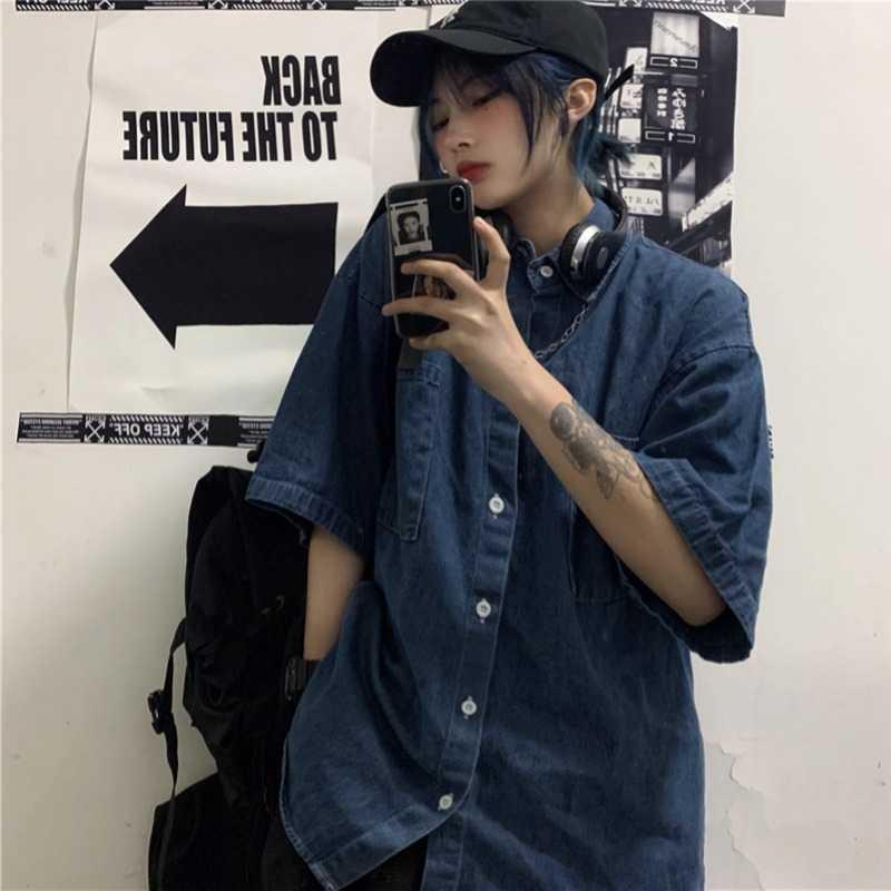 Summer Denim Shirt Women's Korean-Style Ins Harajuku Style New Half Sleeve Loose-Fitting Versatile B