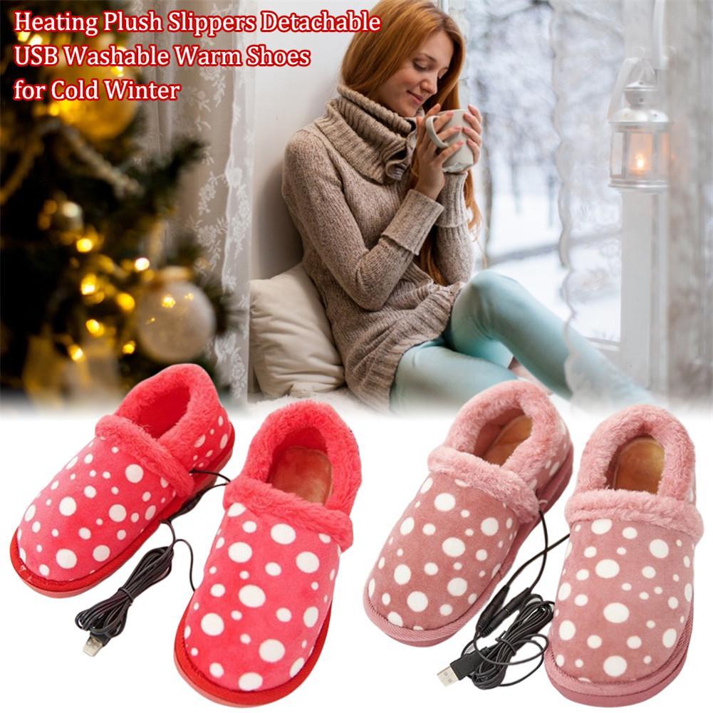 Sapatos quentes laváveis usb destacáveis do tamanho 36-39 260mm dos chinelos do luxuoso do aquecimento a 270mm para o inverno frio 40-45 graus sapatas aquecidas