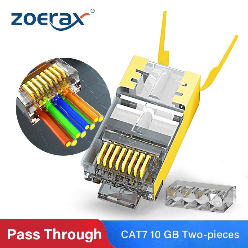 ZoeRax RJ45 Cat8 Cat7 & Cat6A проходные Разъемы 8P8C 50UM позолоченный Экранированный FTP/STP | Сеть RJ45 модульная вилка-1,5 мм