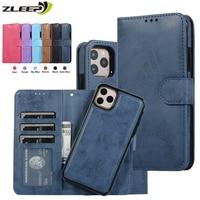 Роскошный кожаный съемный чехол для iPhone SE 2020 12 Mini 11 Pro XR XS Max 6 6s 7 8 Plus 5 5s, флип-кошелек, сумки для телефона, чехол