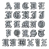 100pcslot embroidery patches creative letters white jersey backpack biker clothing decoration diy iron heat transfer applique