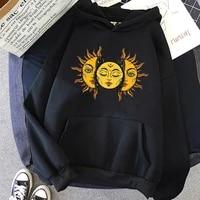 sun and moon hoodie vintage womens hooded sweatshirt winter harajuku ladies gothic loose sweatshirt streetweaer hoodie