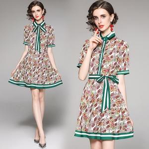 England Style Fashion Button Turn-down Collar Summer Shirt Dress Bow Ribbon Women Clothing Short Sleeve French Party Mini Dress