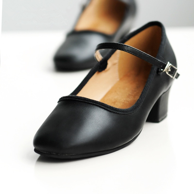 Zapatos de Ballet de tacón bajo profesionales para mujeres, zapatos de baile para profesores, enseñanza de cuero PU, Correa única Tango