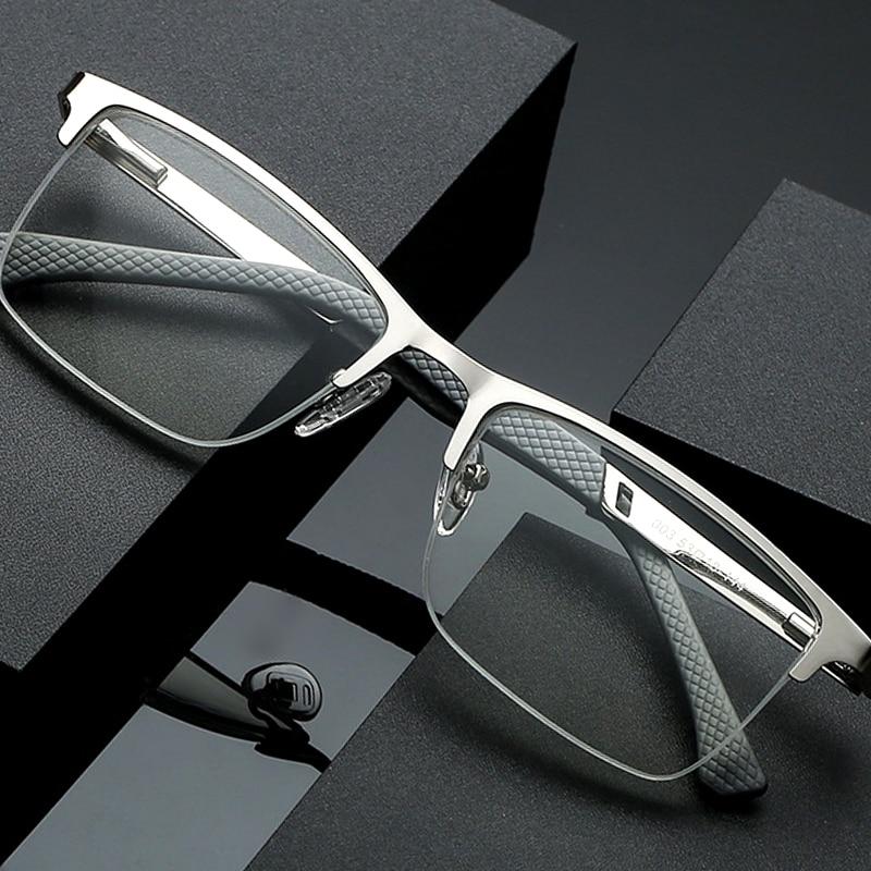 Men Business Reading Glasses Half Rim Computer Blue Light Blocking Farsightedness Anti Fatigue High Quality Metal Frame