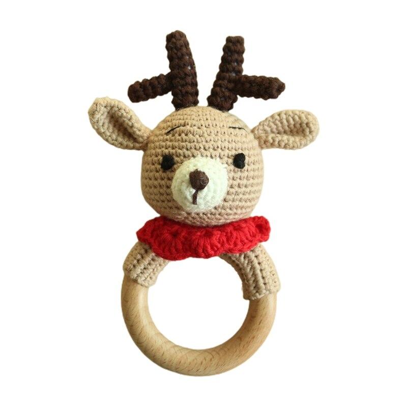 Детский прорезыватель из буковой древесины кольцо DIY связанная крючком погремушка пустышка браслет игрушка-пустышка