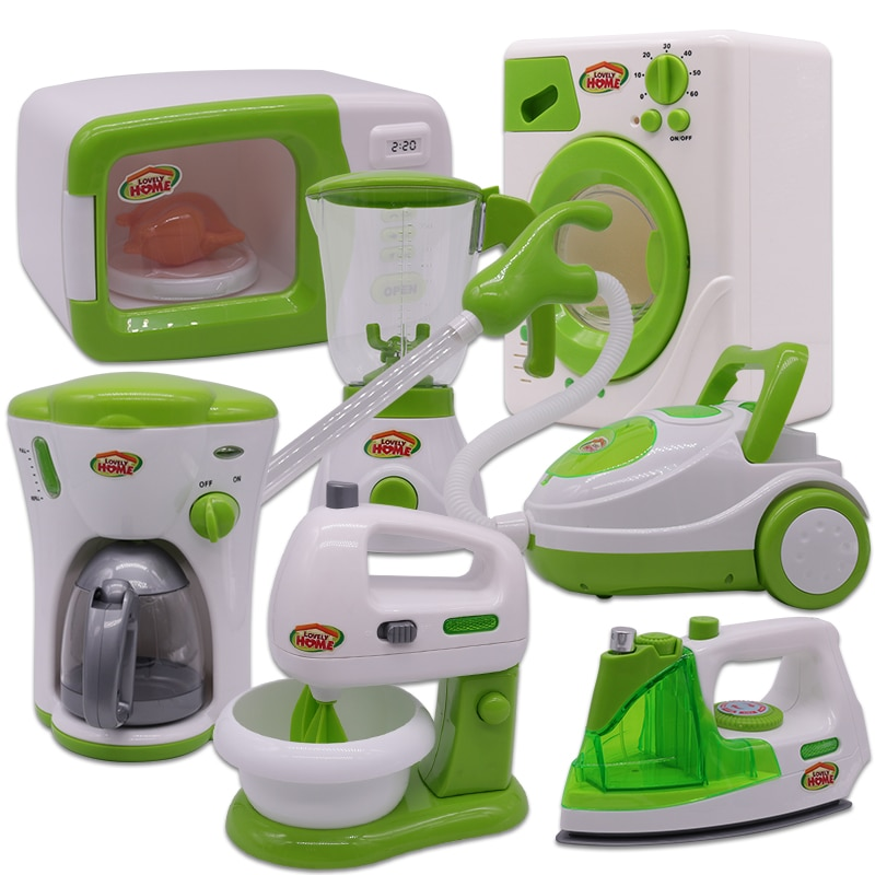 Simulation Home Appliances Kids Kitchen Toys Pretend Play Toys for Girls Light-up&Sound Coffee Machi