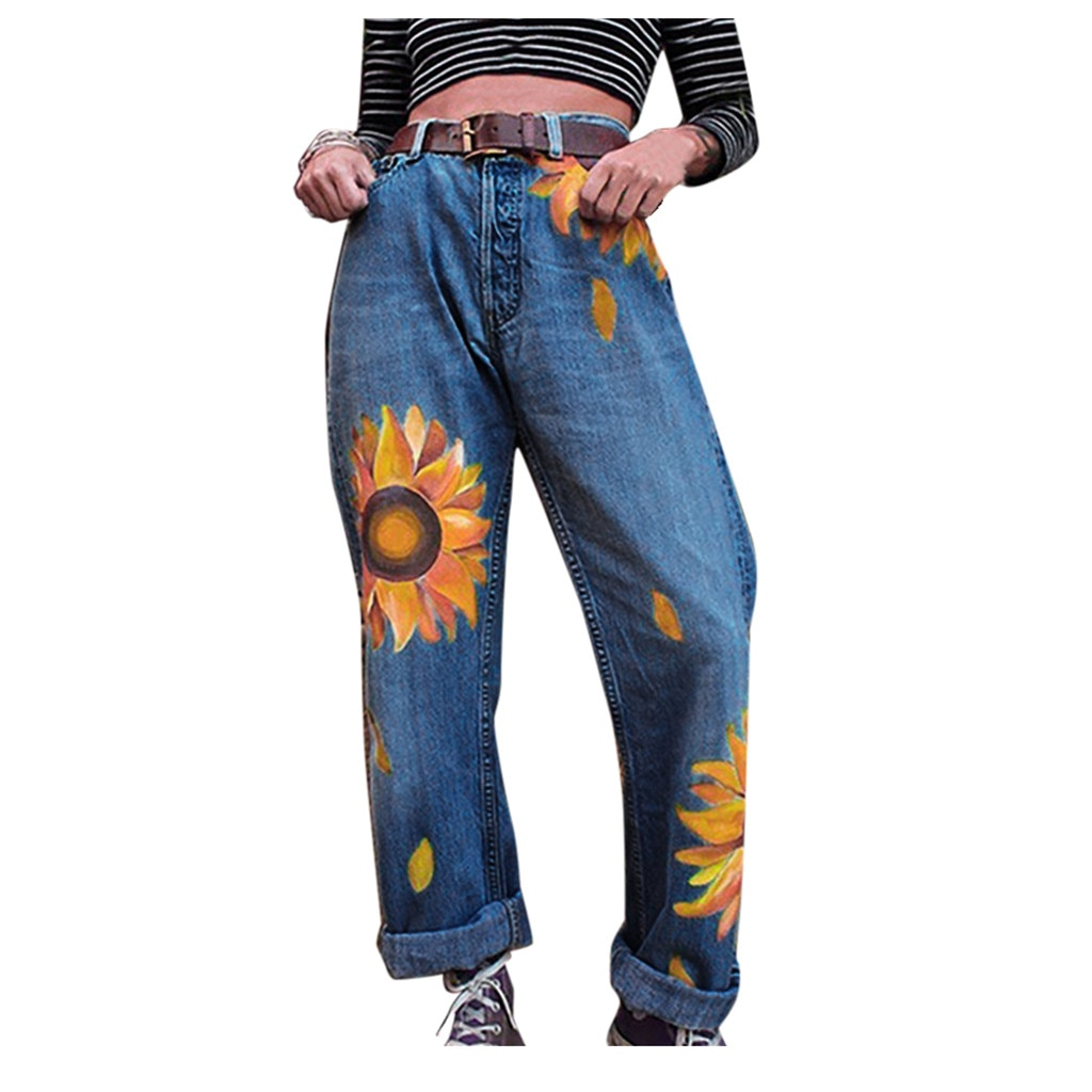 2020New Women Jeans Mid Waist Lady Casual Slim Sunflowers printSlim Pants Length Cropped джинсы женские#W