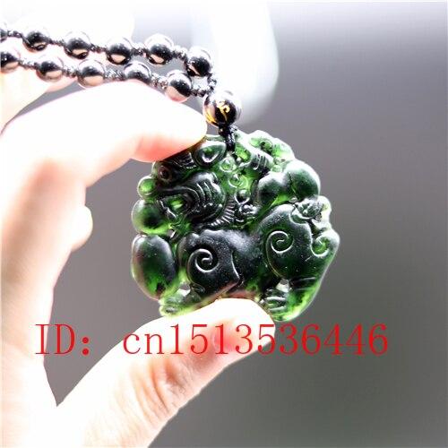 Colgante Qilin de Jade VERDE negro chino tallado, collar de cuentas naturales, joyería, amuleto de la suerte de moda, regalos para hombres