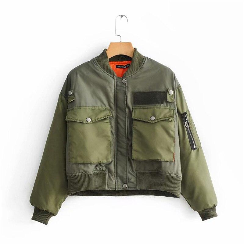 Artsnie Autumn Bomber Jacket Women Army Green Warm Zipper Pockets Winter Coat Female Jacket Parkas Femme Chaqueta Mujer