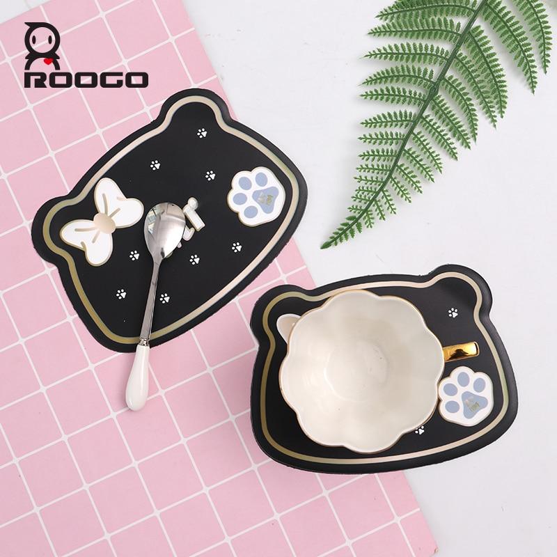 Roogo Silicone Copa Coaster Roteiro para a Mesa De Jantar Em Forma de Gato Bonito Animal Quente Pad Coasters Bebida Cozinha Mat Prato Individual
