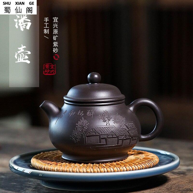 Maceta de arena púrpura, directo de fábrica, Yixing Ore negro, cinabrio, montañas, Arroyo, Ren Jia, olla, famosa mano, Pao Cha Hu