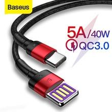 Baseus 40W Supecharge USB Type C câble pour Huawei P30 Mate 20 30 Pro 5A Charge rapide 3.0 Type USB-C câble de données