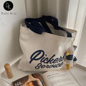 Female Canvas Bag Women English Letter Printing Handbag Ladies Casual Shoulder Bag Reusable Grocery Shopping Bag for Girls Totes