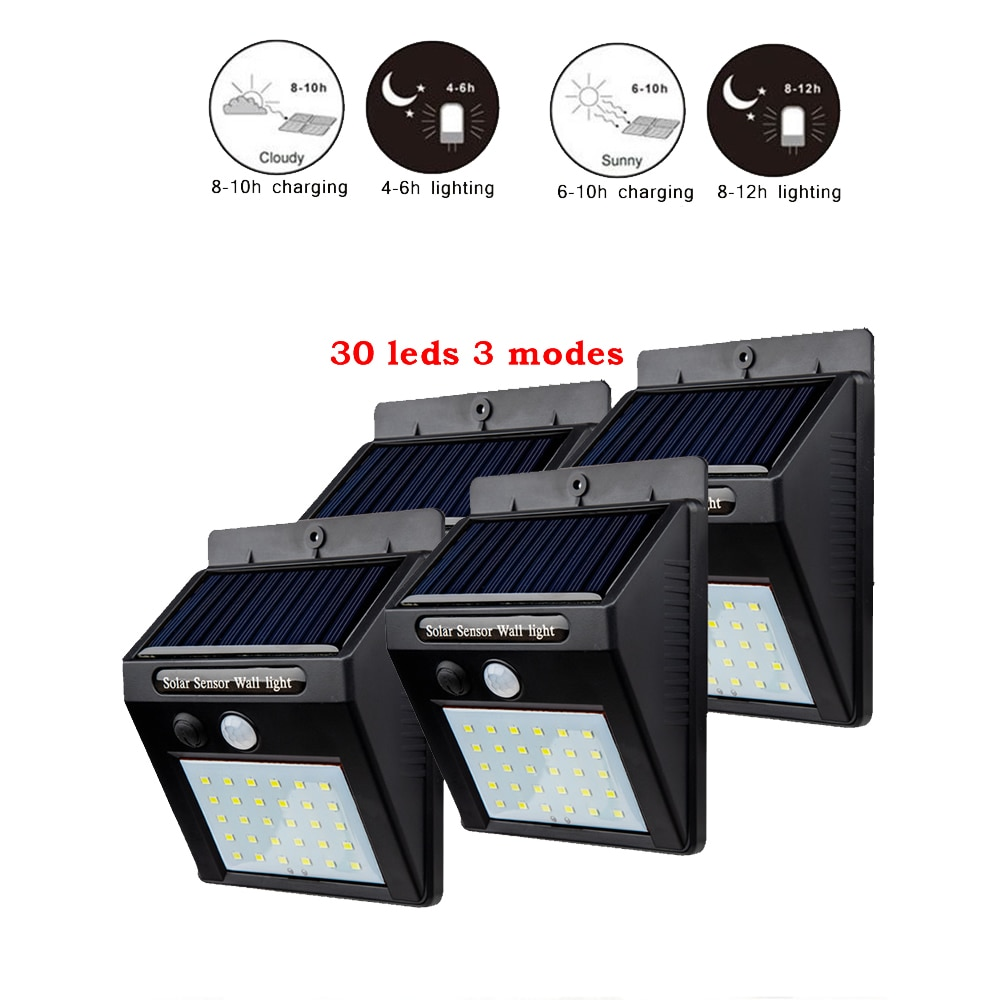 1-4pcs LEDs Solar Powered Lights Wireless Motion Sensor lamp Security Outdoor Waterproof Wall Spotlights Garden Street Path ligh