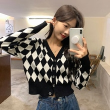 Cardigan Sweater Knitwear Short Coat Women's Thin Early Spring Autumn 2021 New Long Sleeve V-neck To