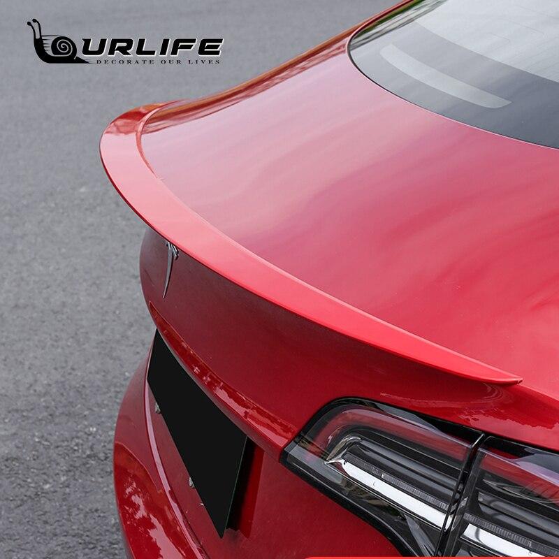 Для Tesla Model3 хвост черный/углеродного волокна зерна задний спойлер окна водозадерживающее крыло установка автомобильные аксессуары украшен...
