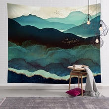 Decoración del hogar, paisaje dorado, montaña, tapiz cepillado, tela colgante de pared, Fondo de sala de estar, pared cuadrada, Yoga, playa, toalla mat