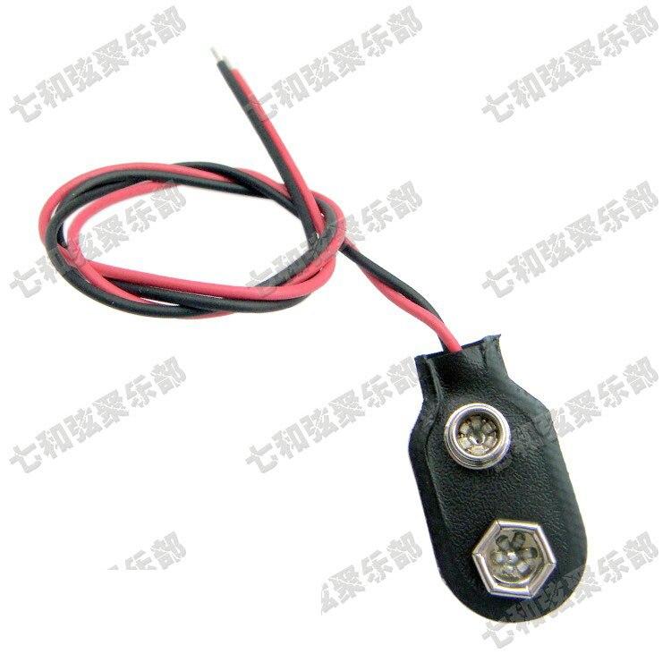 5 uds 9 V 9 voltios soporte con Clip para batería conectores tipo Snap Cable de plomo hebilla de batería suave para guitarra eléctrica