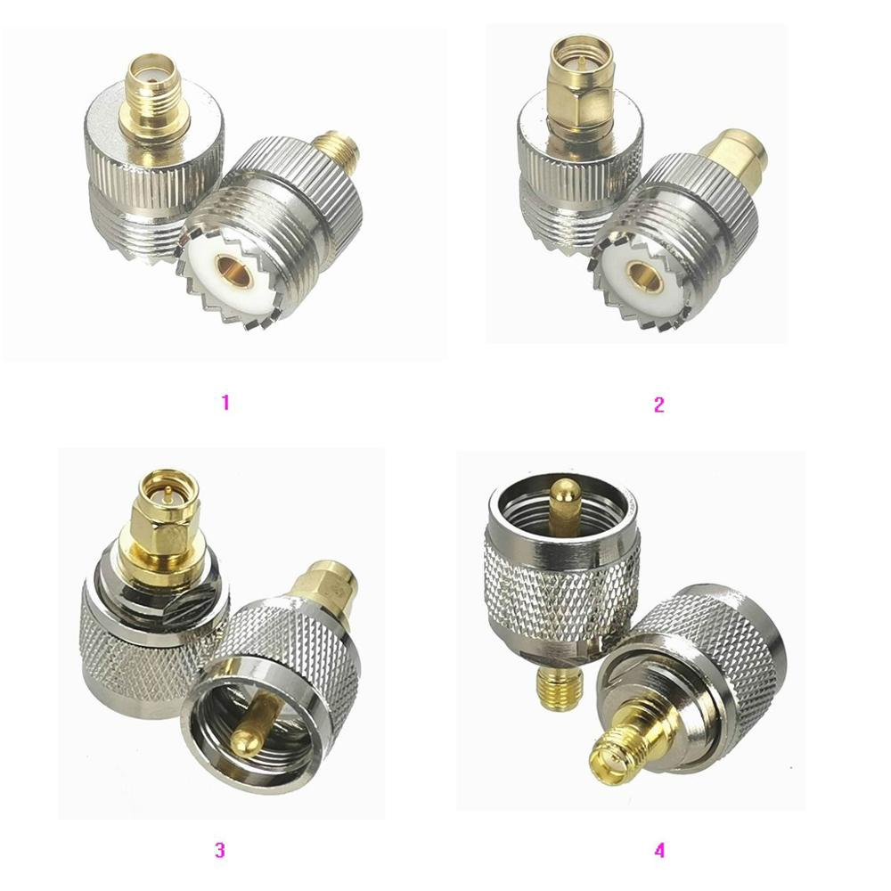 1Pcs SMA to UHF PL259 SO239 Male plug & Female jack RF Coaxial Adapter connector Test Converter Brass