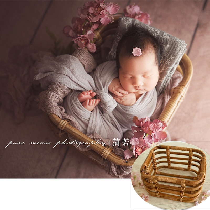 Newborn Photography Props Girl Handmade Retro Woven Basket Fotografie Accessories Studio Baby Photo Shoot Bed Backdrop Chair