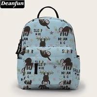 deanfun printing sloth mini backpack women shoulder bag for travel waterproof small backpacks for girl gift bmnsb 19