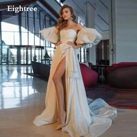 eightree shiny white sequin a line prom dress glitter bow off shoulder side slit long party dress formal party dresses