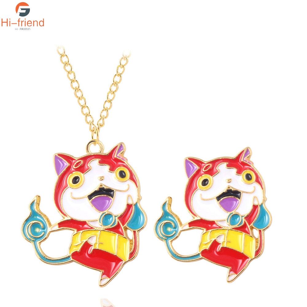 Youkai Watch Jibanyan Charms Necklace Cartoon Figure Enamel Bagde for Kids Choker Pins Pendant Jewelry