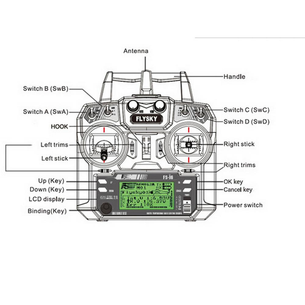 FlySky FS-i6 2.4G 6CH AFHDS RC Transmitter Remote Controller With FS-iA6 Receiver for Airplane Heli UAV Multicopter enlarge