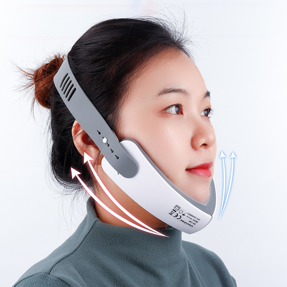 KOLI Chin V-Line Up Lift Belt Machine LED Photon Therapy Facial Lifting Device Face Slimming Vibration Massager V-Face Care