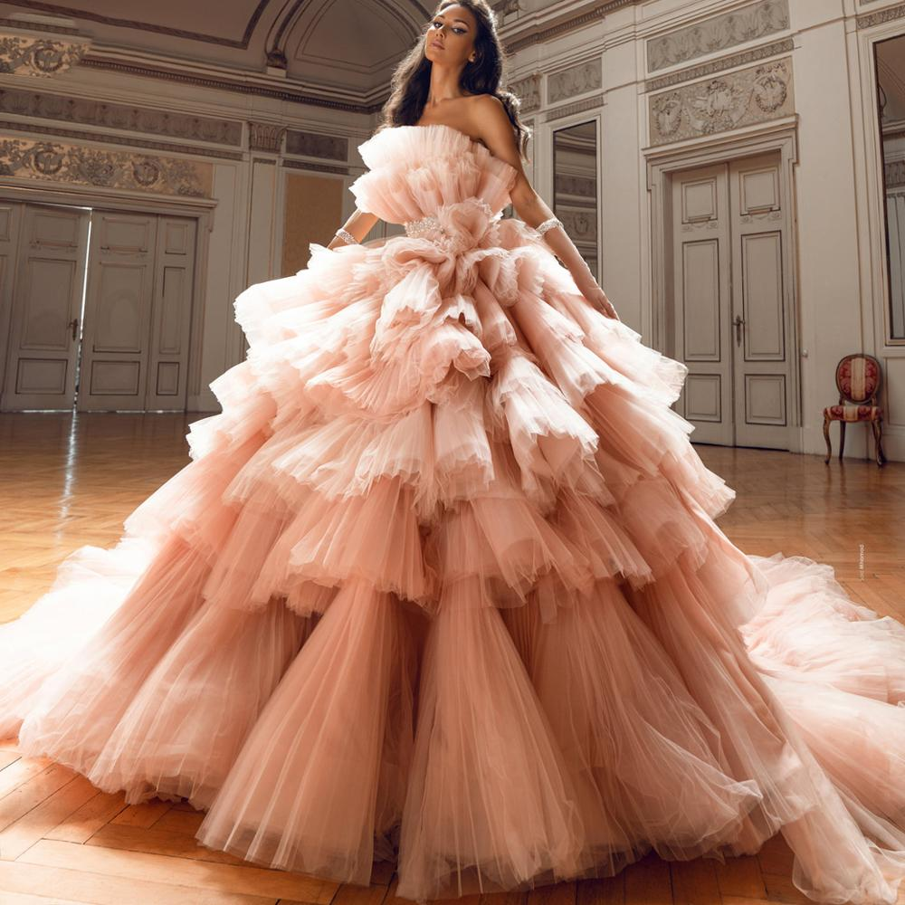 فستان سهرة طويل من التول ، أميرة الخوخ ، مع انتفاخات ، للحفلات الرسمية ، مع طبقات من الكشكشة والخرز ، للنساء