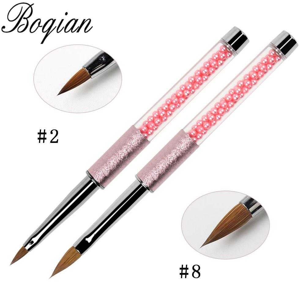 BQAN, 1 Uds., pincel acrílico Kolinsky Natural, pincel de marta cibelina para esculpir, pintura DIY, esmalte de Gel UV, herramientas de manicura de pluma