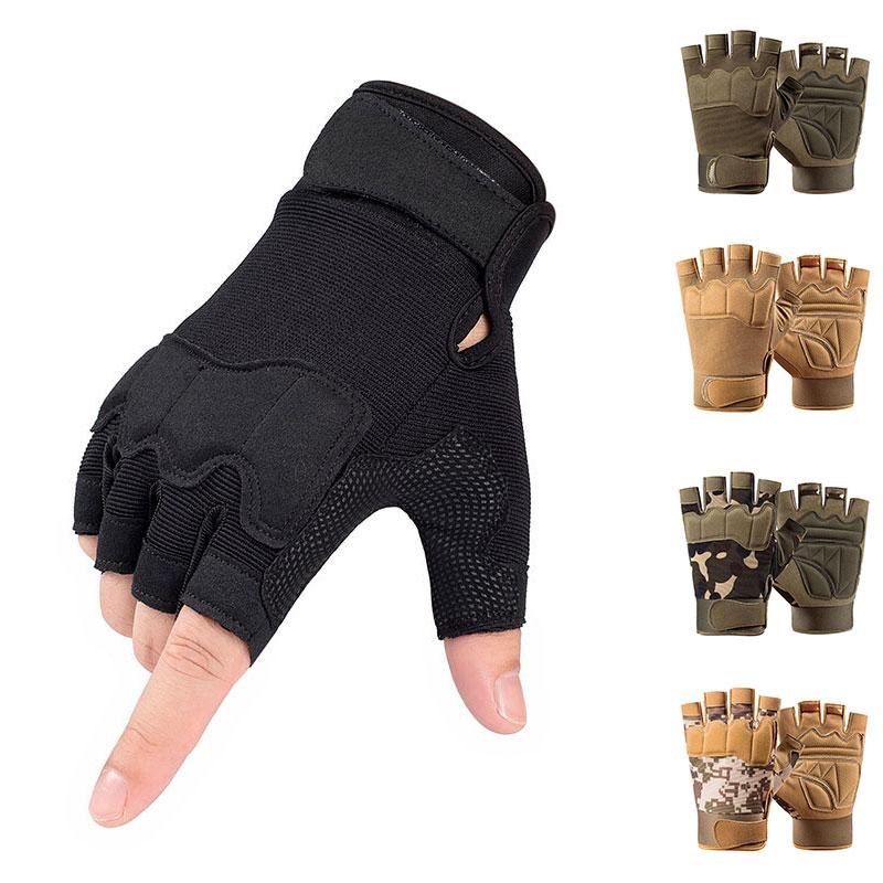 В стиле милитари съемки перчатки без пальцев Половина Finger Для мужчин тактические перчатки анти-скольжение наружные спортивные перчатки дл...