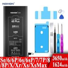 Nohon Battery For Apple iPhone 6s 6 7 8 Plus SE X Xr Xs Max 6sPlus 6sP 6P 7P 7Plus 8P  iPhoneSE 1624mAh-3650mAh Batteries +Tools