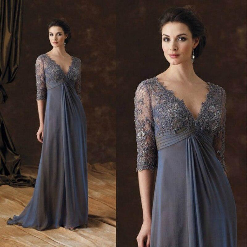 مقاس كبير فساتين أم العروس نصف كم رقبة على شكل حرف v فستان أم العريس طول الأرض شيفون Vestidos De Novia