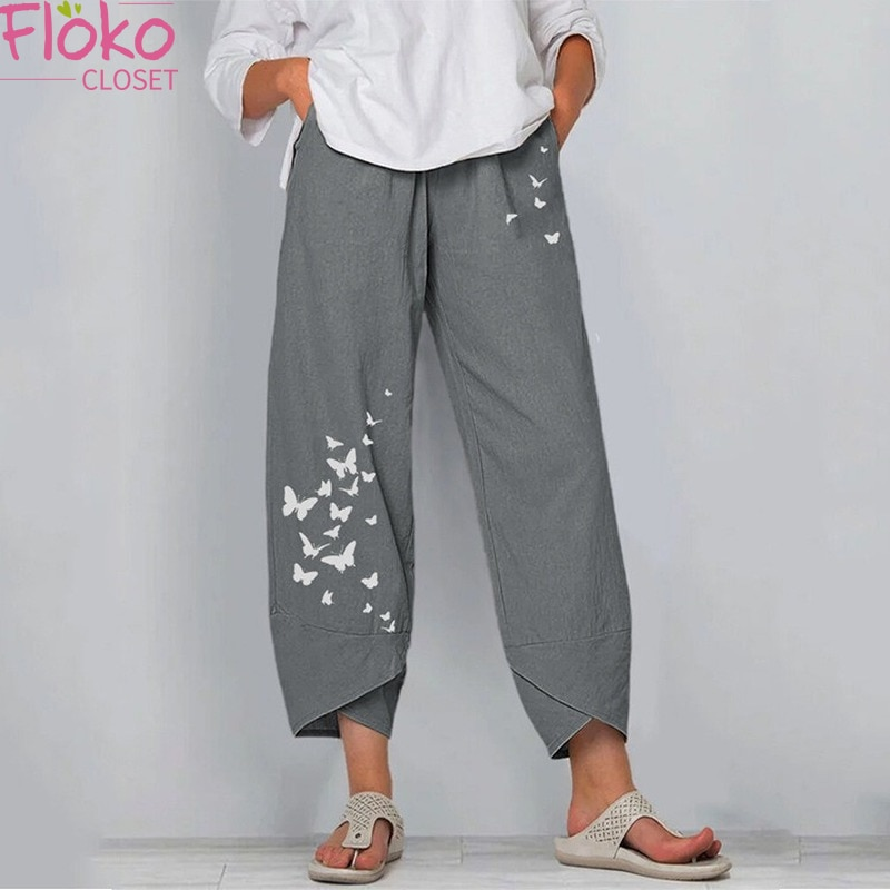 Flokocloset Summer Loose Butterfly Print Pants Summer Ladies Cotton Linen Wide Leg Casual Trousers A