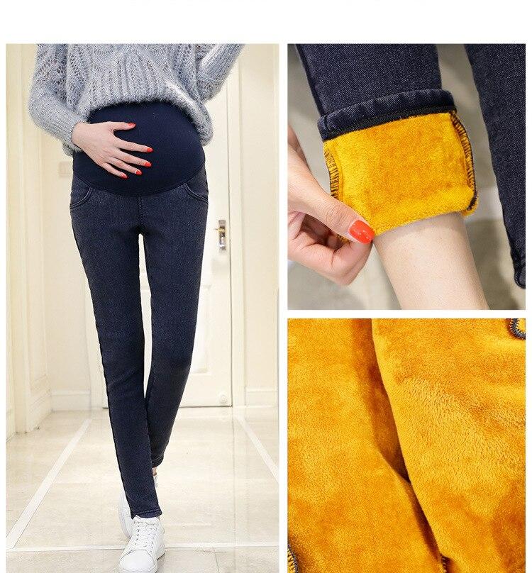 Pantalones de mezclilla gruesos cálidos para embarazadas, pantalones vaqueros de maternidad de lana de invierno para mujeres embarazadas, pantalones de maternidad de terciopelo Plus Size 3XL