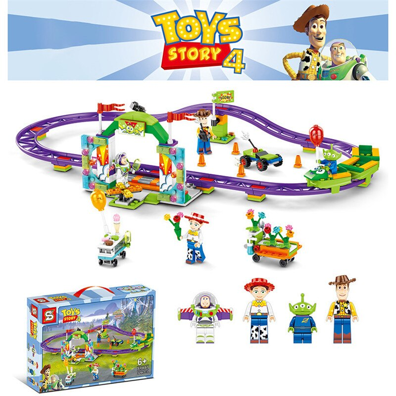 Toy Story Series Action Figures Buzz Lightyear Woody Bricks Building Blocks Assembled Toy Roller Coa