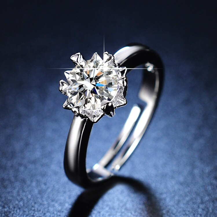 Sterling Silver Rings Wedding Rings Diamond Rings for Women Resizable Rings Silver 925 Jewelry