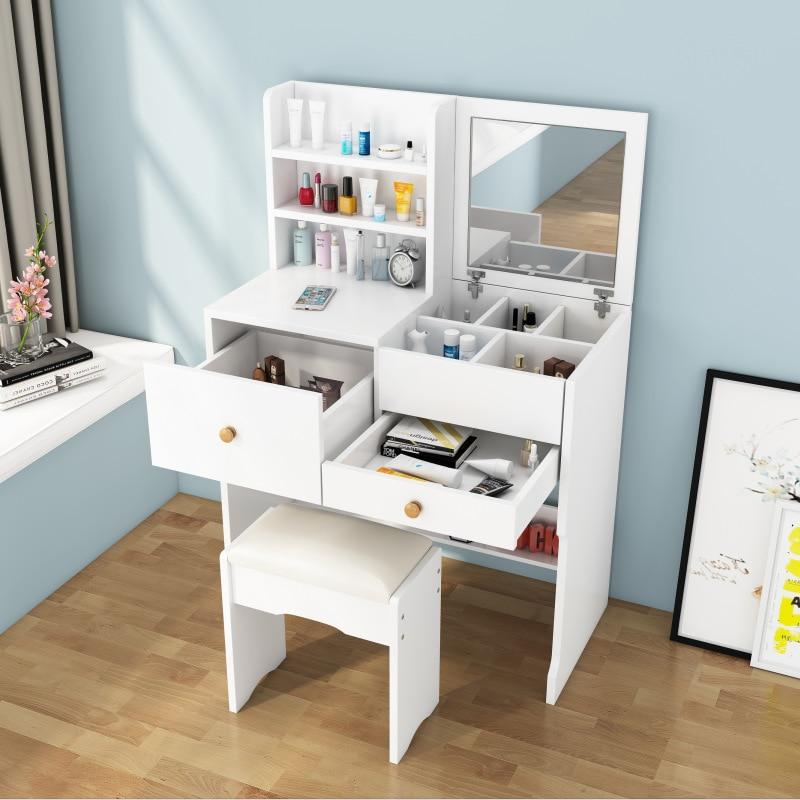 Мини-столик для макияжа с зеркалом, туалетный столик, современный минималистичный комод, шкаф для хранения, туалетный столик