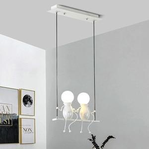 E27 Creative Little Man Swing Pendant Light Restaurant Cafe Chandelier Lamps Modern Children's Room Bedroom Bedside Hanging Lamp