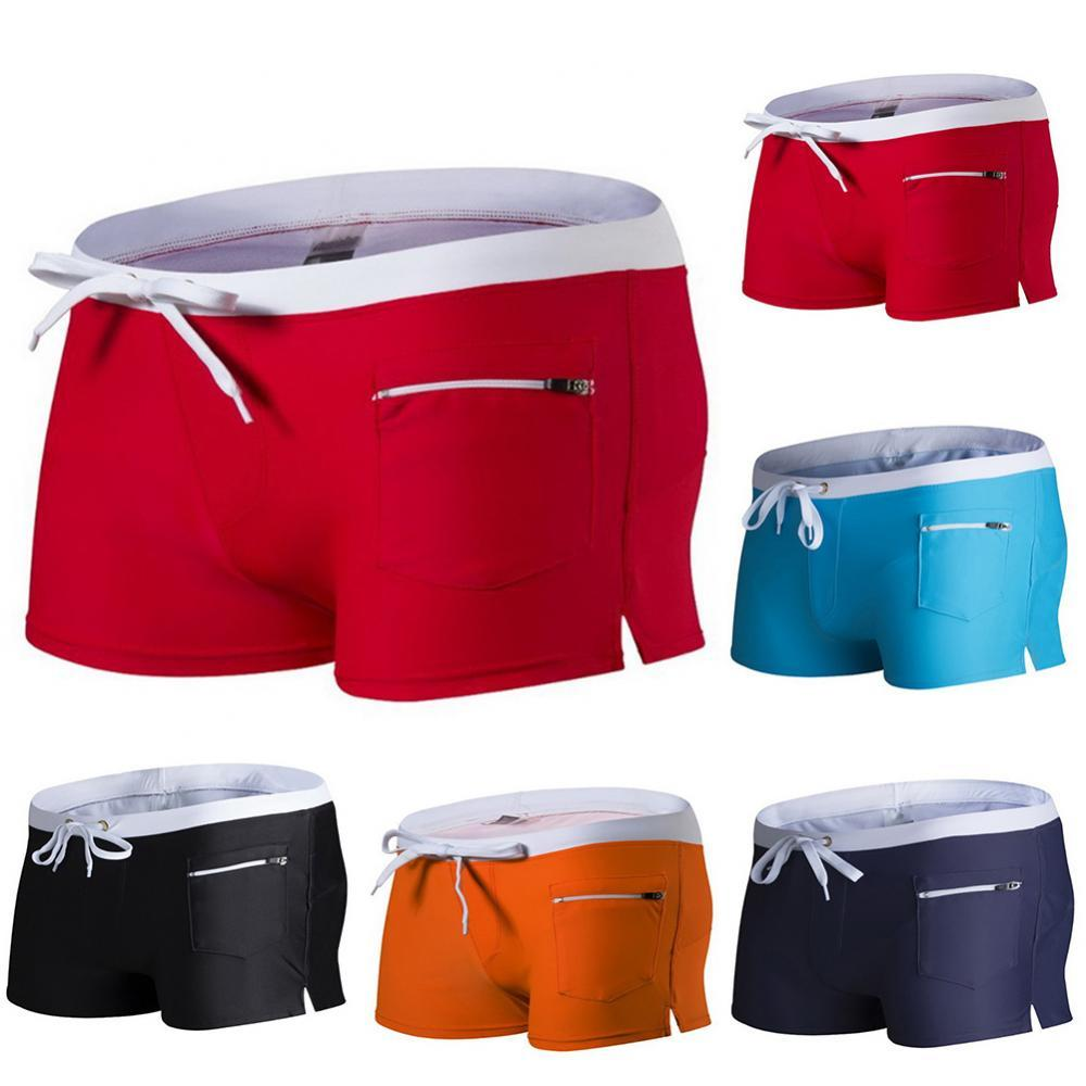 Trunks Fitness Workout Beach Shorts Men Swimwear Color Block Drawstring Swimming Trunks Surf Board Boxers Shorts мужская одежда