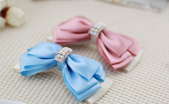 Women's Diamond Bow Hairpin Hairpin Headdress Duckbill Hairpin Spring Loop Ribbon Ribbon Rhinestone Pearl Handmade HDJ027