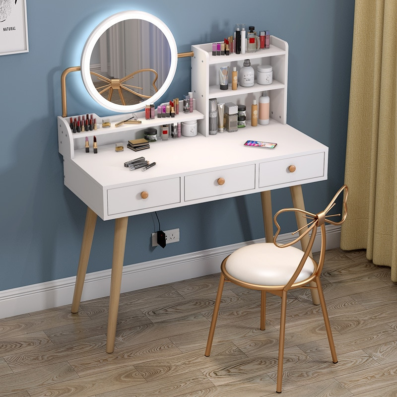 Dressing table bedroom small apartment storage cabinet integrated modern minimalist makeup table makeup table furniture multifunction flip lid dresser nordic storage cabinet girl lady bedroom furniture modern small dressing table desk
