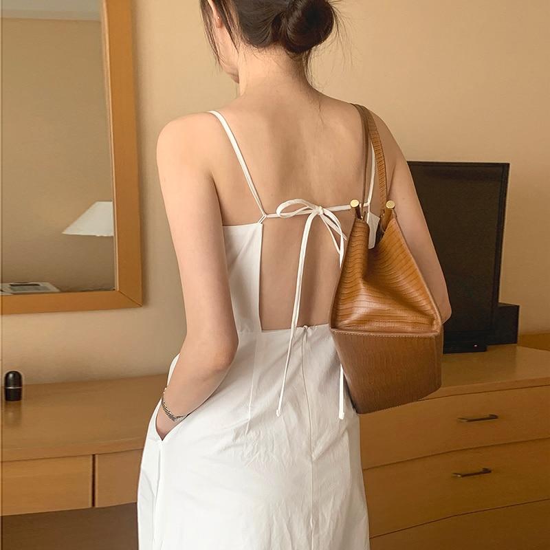 Korean French Sexy Dress Slim Neck Open Back Lace Up Care Slim Split Suspender Dress Long Skirt