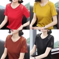 2021 womens t shirt short sleeve loose cotton new summer v neck oversized t shirt korean half sleeve womens shirt top