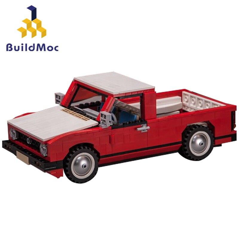 Buildmoc-مكعبات بناء شاحنة الدفع الرباعي التقنية ، نموذج شاحنة بيك آب أحمر ، سيارة المدينة ، شاحنة التوصيل ، الطوب ، ألعاب الأطفال ، هدية