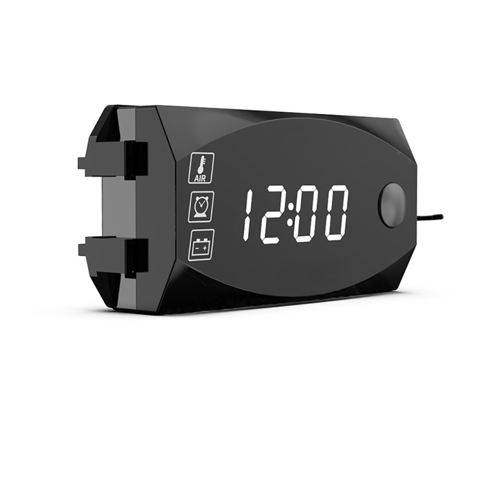 Mini pantalla LED Digital 3 en 1, 12V metros voltímetro, reloj, termómetro, indicador, medidor de Panel para coche y motocicleta