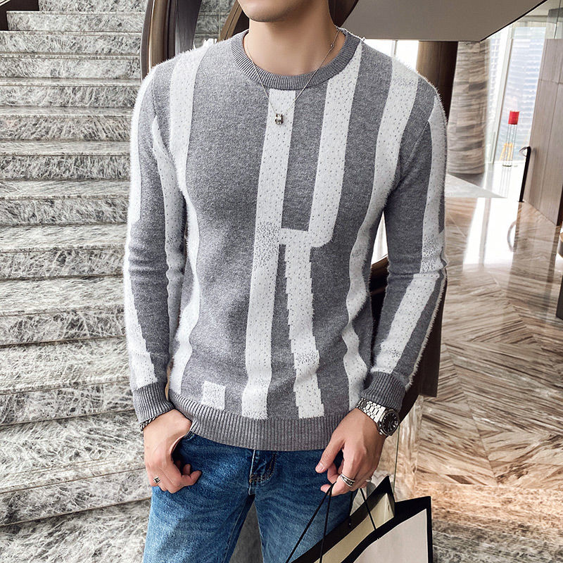 Winter New Slim Fitting Round Neck Men's Pullover Sweater Knitted Bottoming Top Black Man Free shipping