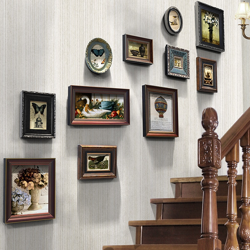 خشبية الممر إطار صور مجموعة الأمريكية خمر جدارية خلفية صورة الإبداعية هدية Celosia Madera الجدار الديكور EF50ZP